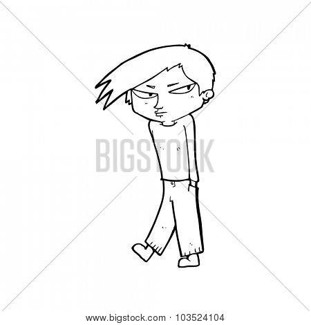 simple black and white line drawing cartoon  grumpy boy