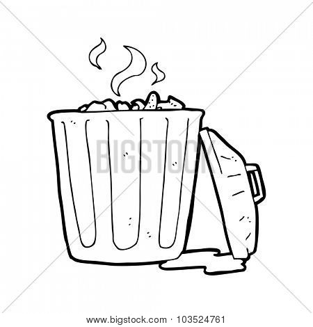 simple black and white line drawing cartoon  garbage can