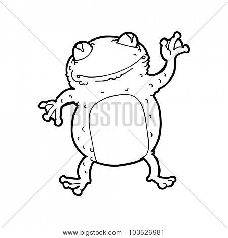 simple black and white line drawing cartoon  frog