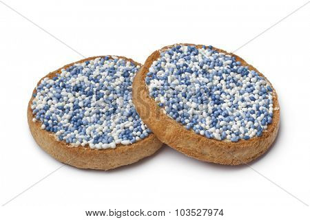'Beschuit met muisjes, a traditional treat to celebrate the birth of a child in The Netherlands. Blue for a boy