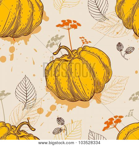 Pattern With Orange Pumpkin And Leaves