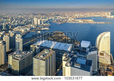 Aerial view of Yokohama Cityscape at Minato Mirai waterfront district. poster