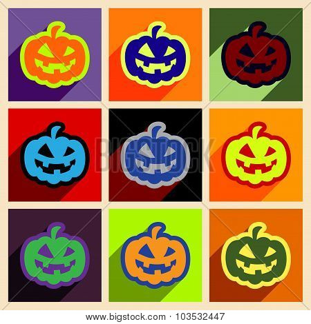 Flat with shadow concept and mobile application pumpkins