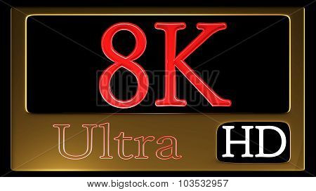 Ultra Hd Icon Isolated On Black Background