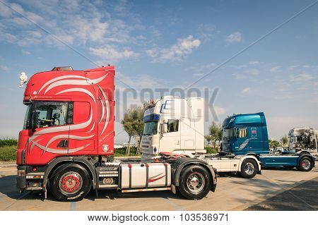Rimini, Italy - September 7, 2014: Scania Semitrucks Parked Along The Beach Promenade In Rivazzurra