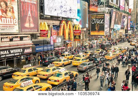 New York - December 22, 2014: Taxicabs And Traffic Jam Congestion In Times Sq