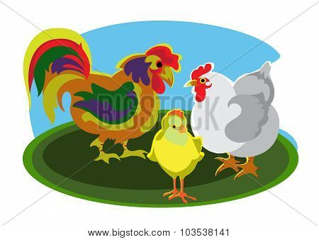 Cock, hen and chick
