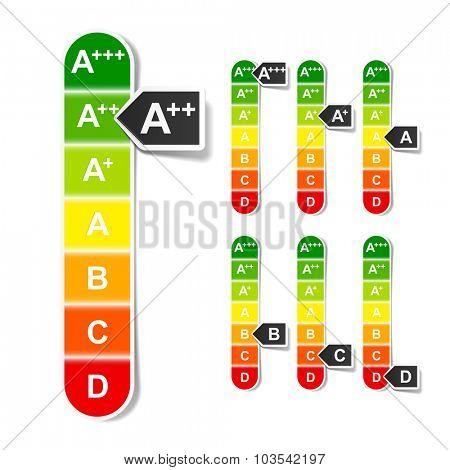 European Union energy efficiency rating. Vector.