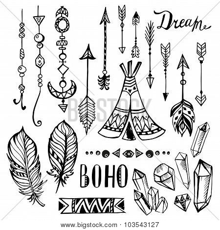 Hand drawn ethnic collection. Vector set with  boho elements
