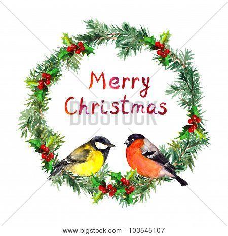 New year wreath - spruce, bullfinch and tit bird. Watercolor