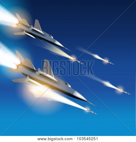 Aerial Bombardment By Fighter Jets