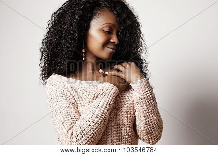 Perfil Of Pretty Black Woman With Curly Hair