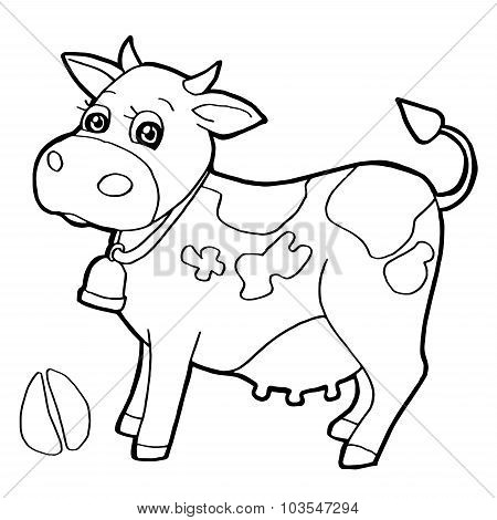 Cattle  with paw print Coloring Page vector