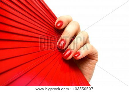 Red Fan In Hand