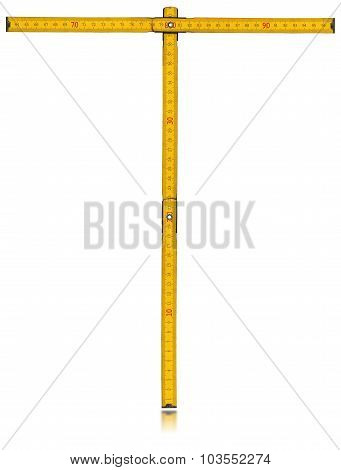 Font T - Old Yellow Meter Ruler