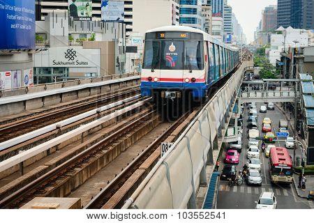 Metro Skytrain Runs Through The City.
