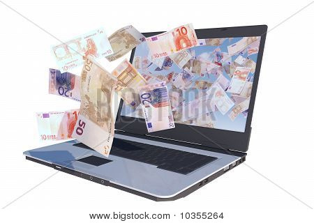 laptop computer with euro bills flying out screen, rendered illustration