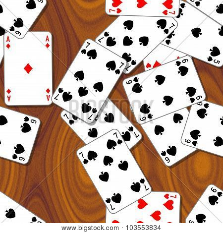 Playing Cards Scattered On The Wooden Table - Seamless Pattern Texture