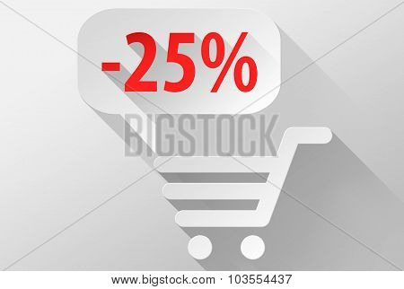 Shopping Sale 25% Widget And Icon 3D Illustration Flat Design