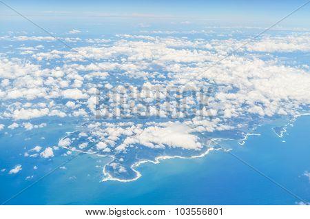 Aerial View From Airplane Of Kushima Miyazaki Kyushu Japan