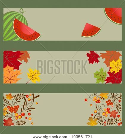 Collection of autumnal horizontal banners with watermelon, ashberry and maple leaves