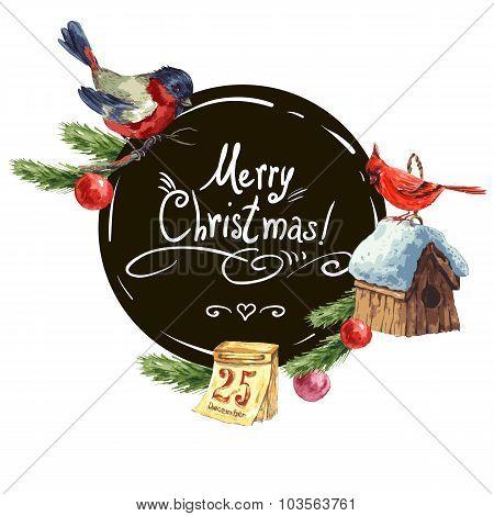 Greeting card with bullfinch, Birdhouse Christmas tree