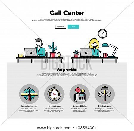 Call Center Flat Line Web Graphics