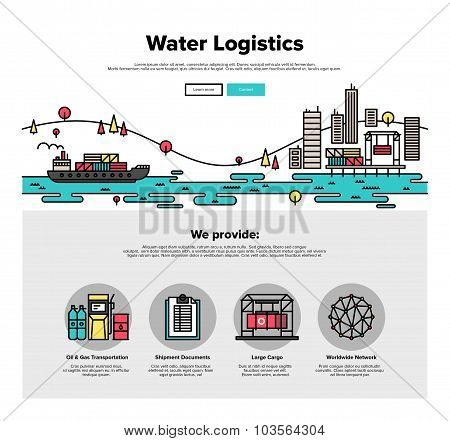 Water Logistics Flat Line Web Graphics