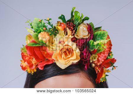 Close Up Coronet Of Flowers In Autumn Style