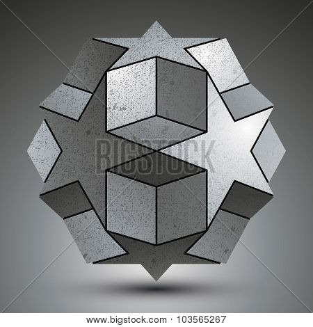 Galvanized Spherical 3D Object Created From Star Shapes And Cubes, Metallic 3d object