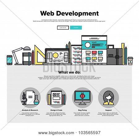 Web Development Flat Line Web Graphics