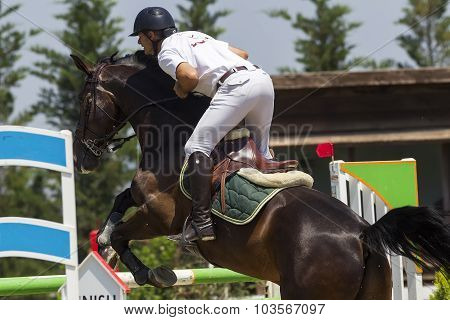 Thessloniki Greece June 14 2015: Unknown rider on a horse during competition matches riding round obstacles