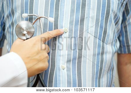 Doctor Pointing To Stomach, .gastrointestinal Disorders