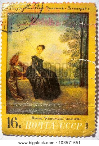 Moscow, Russia - October 3, 2015: A Stamp Printed In Ussr Shows Painting Of Jean-antoine Watteau-cap
