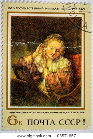 Moscow, Russia - October 3, 2015: A Stamp Printed In Ussr Shows Painting By Artist Rembrandt-young W