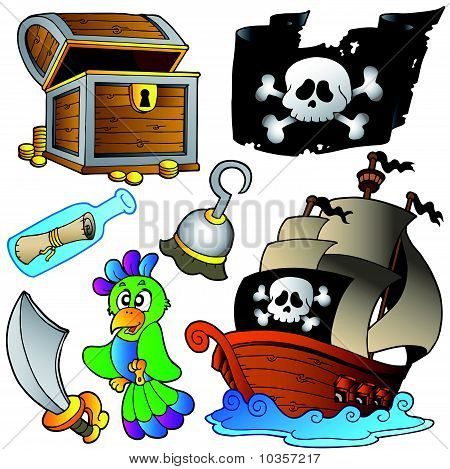 Pirate collection with wooden ship