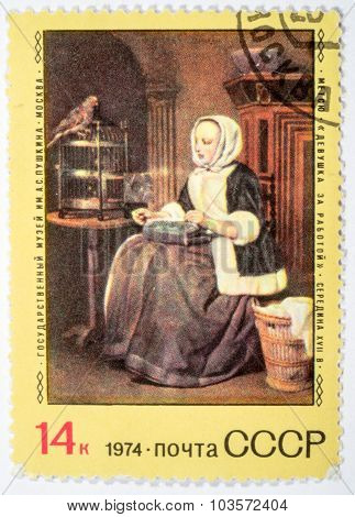 Moscow, Russia - October 3, 2015: A Stamp Printed By Ussr Shows Painting Girl At Work By Gabriel Met