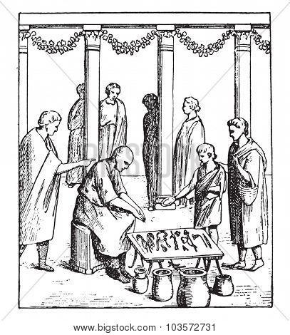 Small merchants, vintage engraved illustration.