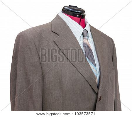 Brown Woolen Jacket With Shirt And Tie Close Up