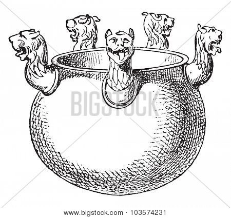 Etruscan vases in bronze, vintage engraved illustration.