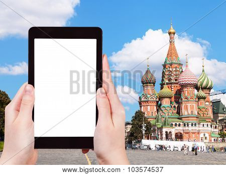 Tablet With Cut Out Screen And Pokrovsky Cathedral