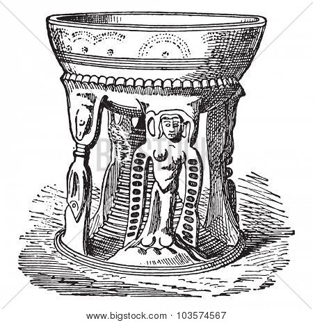 Etruscan pottery, vintage engraved illustration.