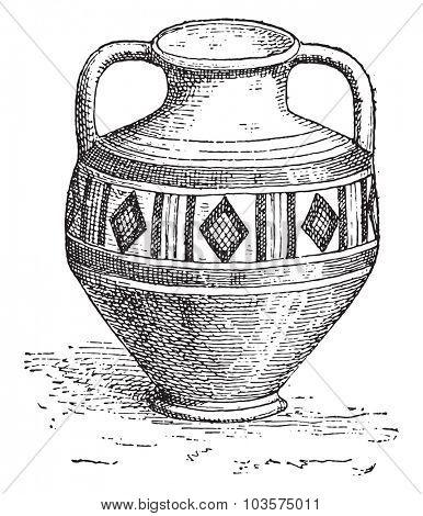 Gallo-Roman vase earth, vintage engraved illustration.