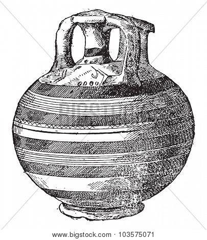 Vase found at Mycenae, vintage engraving.