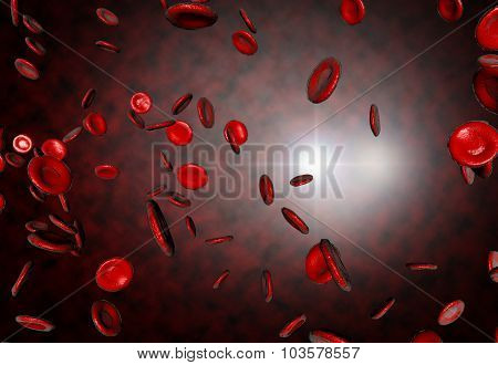 Healthy human red bloodcells in close up 3d graphics render