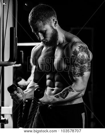 Handsome young muscular sportsman execute exercise with dumbbell on dark background poster