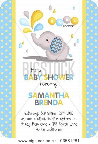 Baby boy elephant invitation
