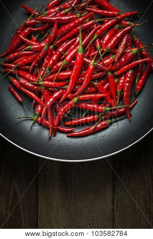 Red Hot Chili Peppers In Old Pan On Rusty Steel  Background