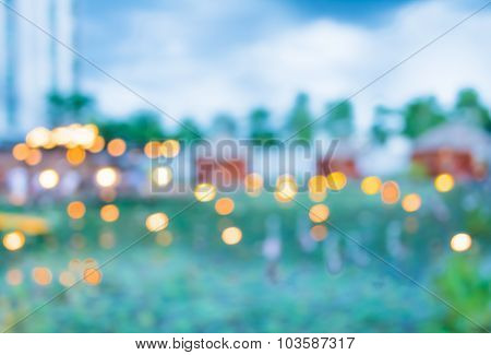 Image Of Blur Green Field And Building With Bokeh On Evening Time