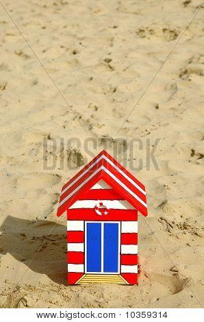 Wooden Beach Hut In The Sand